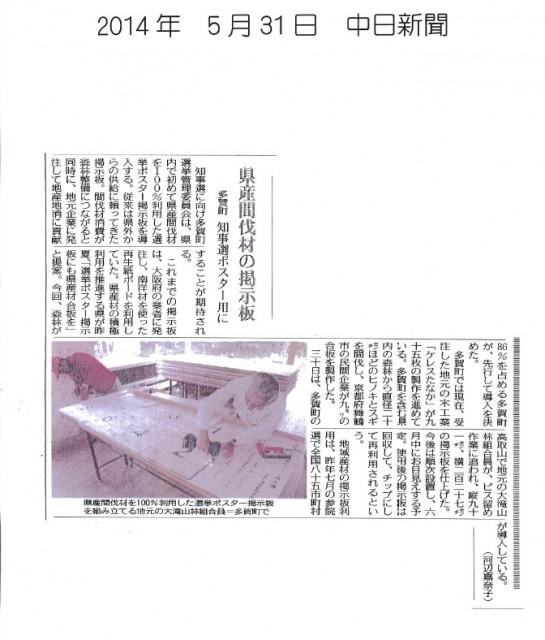 選挙看板中日新聞2014年5月31日