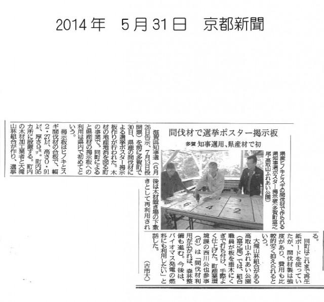 選挙看板京都新聞2014年5月31日